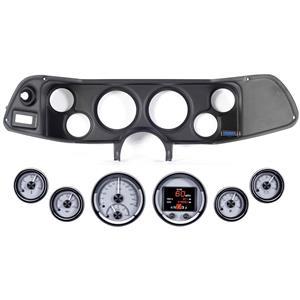 70-78 Camaro Black Dash Carrier Panel Dakota Digital Silver HDX Universal Gauges
