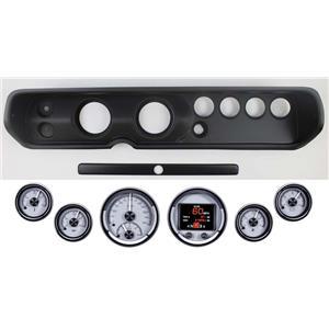 64-65 Chevelle Black Dash Panel w/ Dakota Digital Silver HDX Universal Gauges