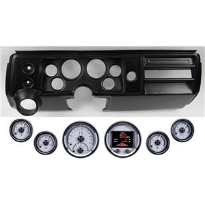 68 Chevelle El Co Black Dash Carrier w Dakota Digital Silver HDX Universal Gauges
