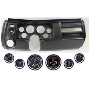 69 Chevelle El Co Black Dash Carrier w Dakota Digital Black HDX Universal Gauges