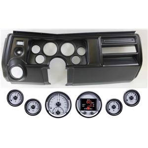 69 Chevelle El Co Black Dash Carrier w Dakota Digital Silver HDX Universal Gauges