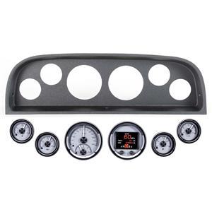 60-63 Chevy Truck Black Dash Carrier w Dakota Digital Silver HDX Universal Gauges