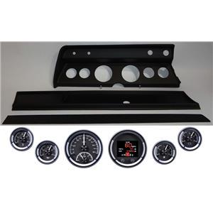 66 Chevelle Black Dash Carrier Panel w Dakota Digital Black HDX Universal Gauges