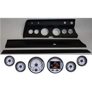 66 Chevelle Black Dash Carrier Panel w Dakota Digital Silver HDX Universal Gauges