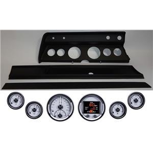 67 Chevelle Black Dash Carrier Panel w Dakota Digital Silver HDX Universal Gauges