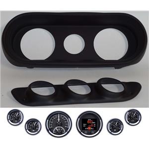 62-65 Nova Black Dash Carrier Panel w/ Dakota Digital Black HDX Universal Gauges