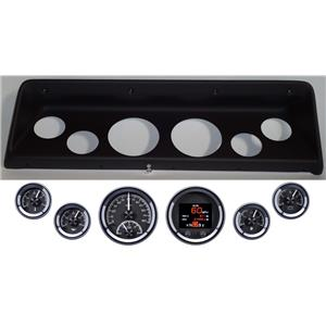 66 67 Nova Black Dash Carrier Panel w/ Dakota Digital Black HDX Universal Gauges