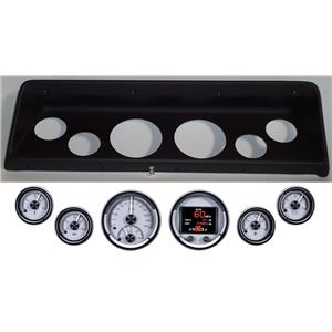 66 67 Nova Black Dash Carrier Panel w/ Dakota Digital Silver HDX Universal Gauges