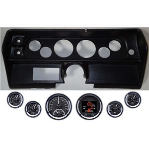 68 Nova Black Dash Carrier Panel w/ Dakota Digital Black HDX Universal Gauges