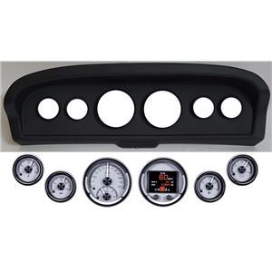 61-66 Ford Truck Black Dash Carrier w/ Dakota Digital Silver HDX Universal Gauges