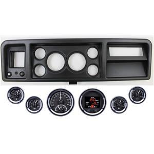 73-79 Ford Truck Black Dash Carrier w/ Dakota Digital Black HDX Universal Gauges