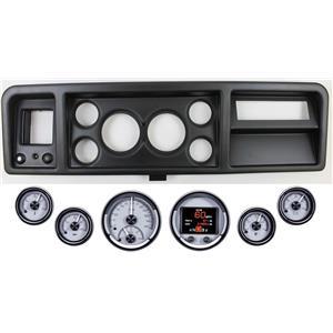 73-79 Ford Truck Black Dash Carrier w/ Dakota Digital Silver HDX Universal Gauges