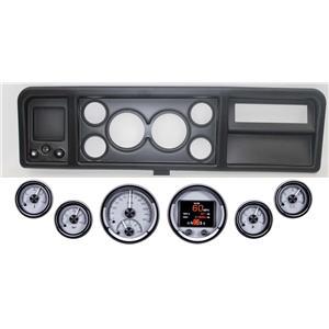 73-79 Ford Truck Black Dash Carrier w/ Dakota Digital Silver HDX Universal Gauge