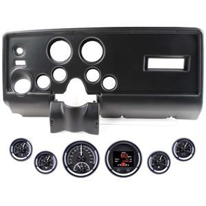 69 Pontiac Firebird Black Dash Carrier Dakota Digital Black HDX Universal Gauges