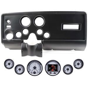 69 Pontiac Firebird Black Dash Carrier Dakota Digital Silver HDX Universal Gauge