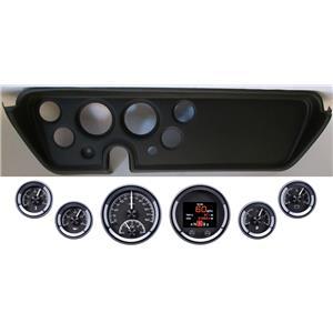 67 GTO Black Dash Carrier Panel w/ Dakota Digital Black HDX Universal Gauges