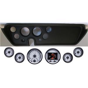 67 GTO Black Dash Carrier Panel w/ Dakota Digital Silver HDX Universal Gauges