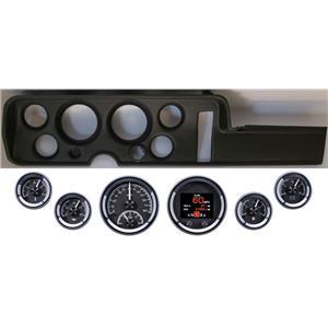 68 GTO Black Dash Carrier Panel w/ Dakota Digital Black HDX Universal Gauges