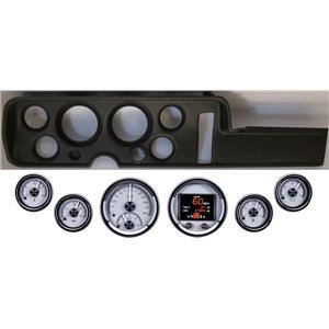68 GTO Black Dash Carrier Panel w/ Dakota Digital Silver HDX Universal Gauges
