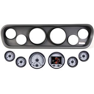 64-66 Mustang Black Dash Carrier Panel Dakota Digital Silver HDX Universal Gauge
