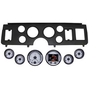 79-86 Mustang Black Dash Carrier Panel Dakota Digital Silver HDX Universal Gauge