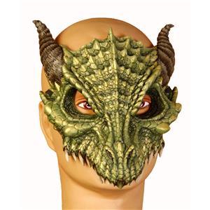 Dragon Adult Green Dinosaur Latex Half Mask