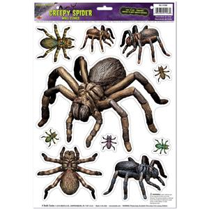 Creepy Spiders Peel N Place Window Cling Stickers Scary