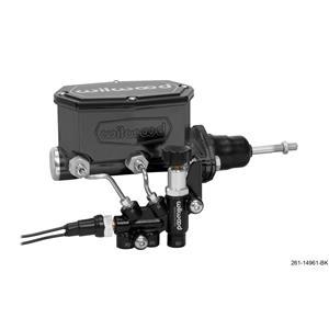 "Wilwood 7/8"" Compact Tandem Aluminum Master Cylinder Prop Valve Kit Black"