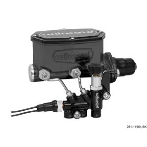 "Wilwood 1 - 1/8"" Compact Tandem Aluminum Master Cylinder Prop Valve Kit Black"