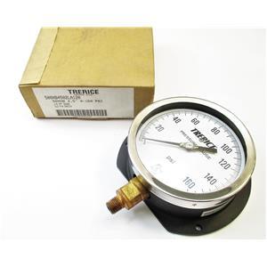 "Trerice 500XB4502LA120 0-160PSI Pressure Gauge 4 1/2"" Face 1/4"" NPT Bottom New"