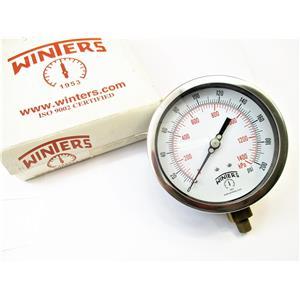 "Winters 1953 0-200PSI Pressure Gauge 4.5"" Face 1/4"" NPT Bottom New 300 Series"