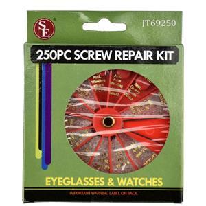 250-Piece Set of Eyeglass & Watch Repair Screws with Revolving Organizer
