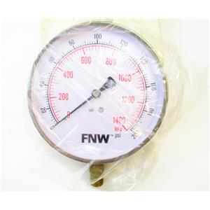 "FNW FNWG0200R Pressure Gauge 0-200 PSI 4 1/2"" Face 1/4"" NPT New"