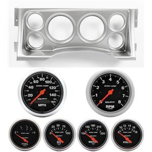 95-98 GM Truck Silver Dash Carrier w/Auto Meter Sport Comp Electric Gauges