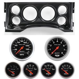 95-98 GM Truck Carbon Dash Carrier w/Auto Meter Sport Comp Electric Gauges