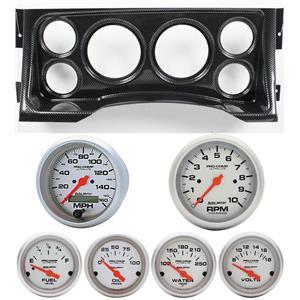 95-98 GM Truck Carbon Dash Carrier w/Auto Meter Ultra Lite Electric Gauges