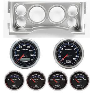 95-98 GM Truck Silver Dash Carrier w/Auto Meter Cobalt Gauges