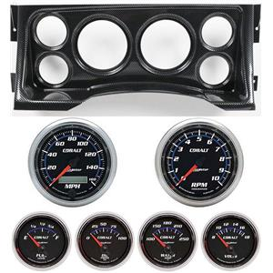 95-98 GM Truck Carbon Dash Carrier w/Auto Meter Cobalt Gauges