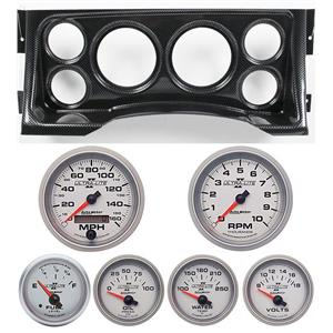 95-98 GM Truck Carbon Dash Carrier w/Auto Meter Ultra Lite II Gauges