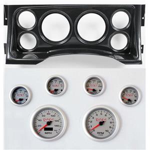 95-98 GM Truck Carbon Dash Carrier Concourse Silver Face Gauges