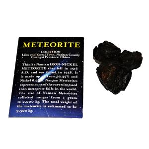 NANTAN IRON NICKEL METEORITE -Genuine-140.7 gram + card & COA# 14758 8o