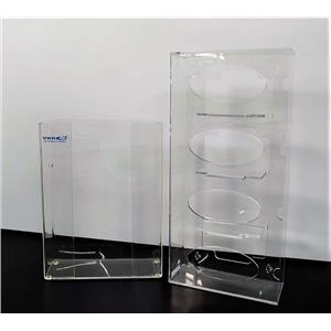 Used: VWR Acrylic Glove Box Holders 1) 3 Box and 1) 4 Box Wall Mount or Stand-Alone