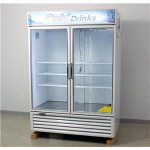 "2020.05.27 Used: Turbo Air TGM-50RS 56"" White Reach-In Refrigerator Merchandiser-Swing Glass Door"