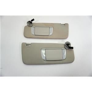 2013-2015 Toyota Avalon Sun Visor Set Pair Covered Lighted Mirrors Adjust Bars