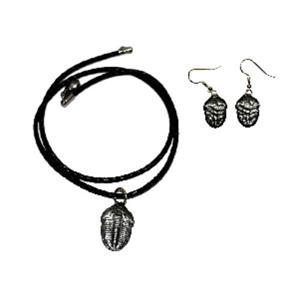Elrathia Kingi Trilobite Earrings/Necklace Set #14978 4o