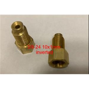 Brass Brake Line Adapter Female 3/8-24 Inverted Male M10x1.0 Inverted PAIR-2