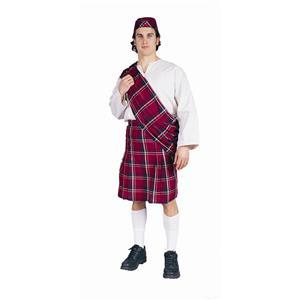 Scott Adult Costume Scottish Kilt and Hat