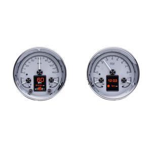 """Dakota Digital Universal Dual 5.4"""" Round Analog Gauges Kit Silver HDX-2014-S"""