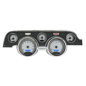 Dakota Digital 67 Ford Mustang VHX Analog Gauges Silver Blue w/ Carrier