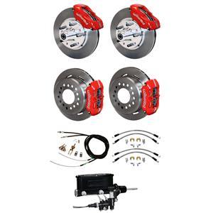 """70-73 Mustang Wilwood Manual 4 Wheel Disc Brake Kit 11"""" Rotors Red Caliper"""